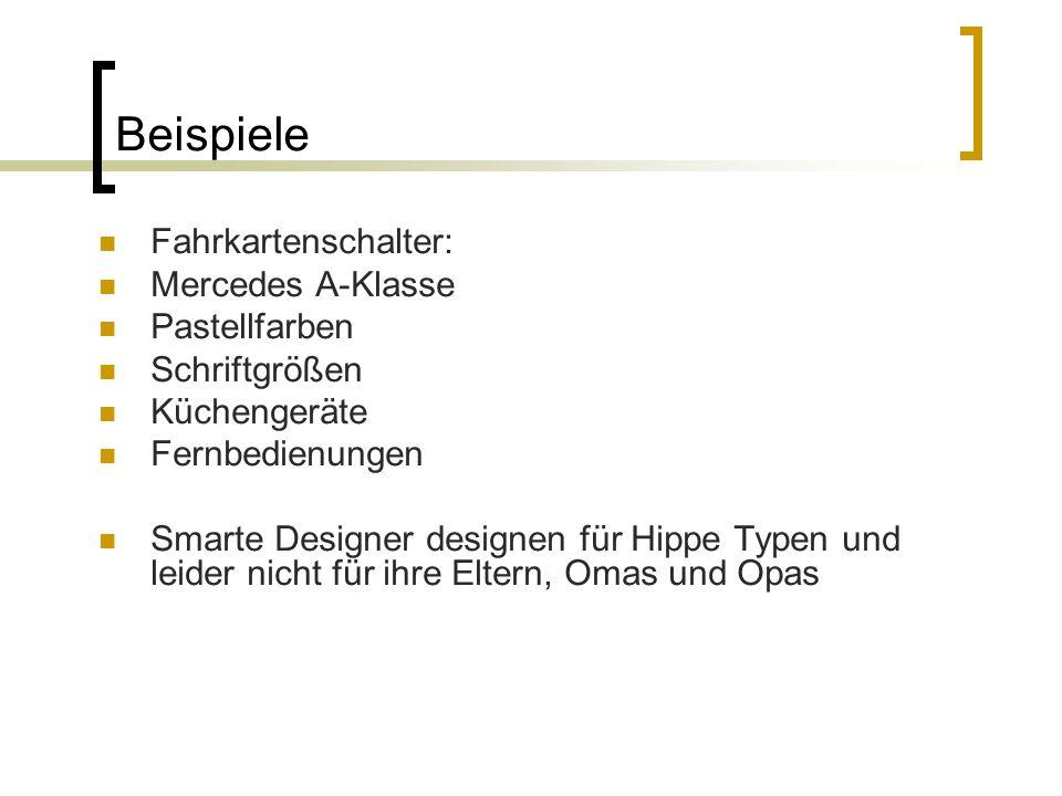 Beispiele Fahrkartenschalter: Mercedes A-Klasse Pastellfarben Schriftgrößen Küchengeräte Fernbedienungen Smarte Designer designen für Hippe Typen und