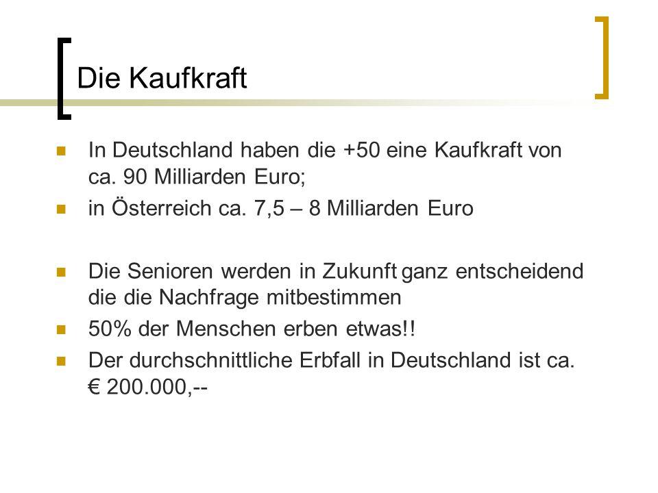 Die Kaufkraft In Deutschland haben die +50 eine Kaufkraft von ca. 90 Milliarden Euro; in Österreich ca. 7,5 – 8 Milliarden Euro Die Senioren werden in