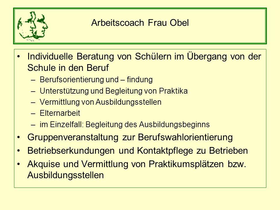 Arbeitscoach Frau Obel Individuelle Beratung von Schülern im Übergang von der Schule in den Beruf –Berufsorientierung und – findung –Unterstützung und