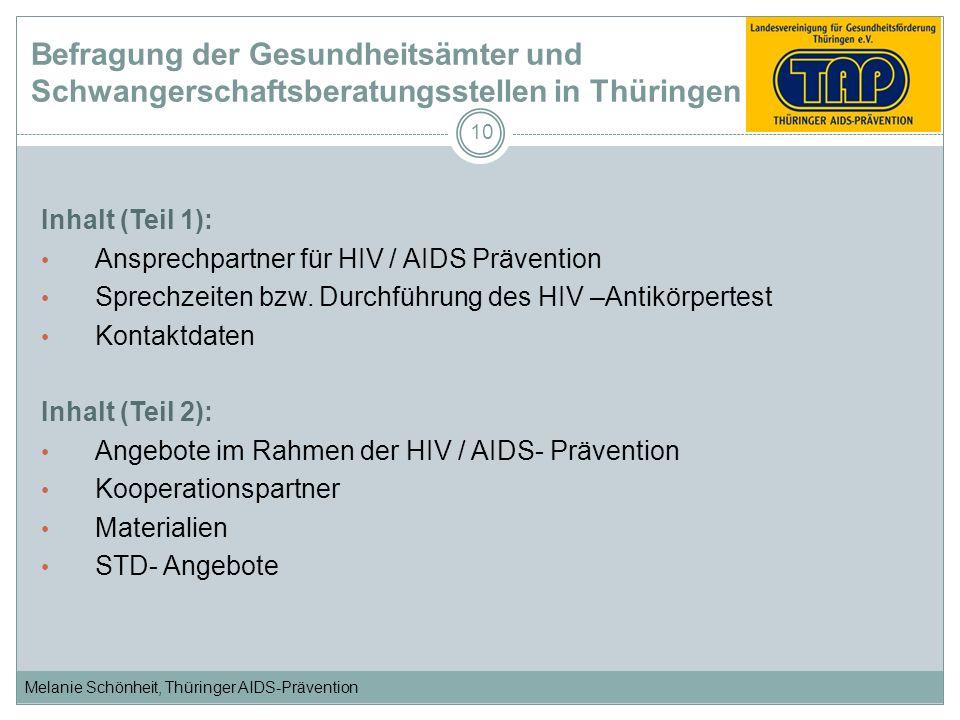 Melanie Schönheit, Thüringer AIDS-Prävention 10 Inhalt (Teil 1): Ansprechpartner für HIV / AIDS Prävention Sprechzeiten bzw. Durchführung des HIV –Ant