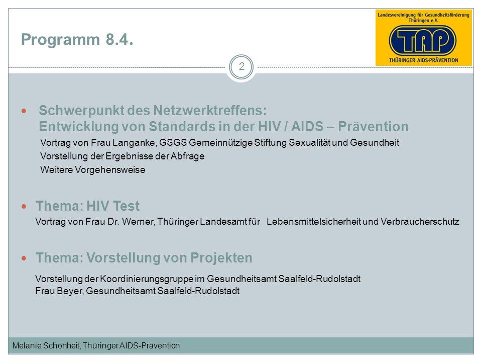 Melanie Schönheit, Thüringer AIDS-Prävention Programm 8.4. Schwerpunkt des Netzwerktreffens: Entwicklung von Standards in der HIV / AIDS – Prävention