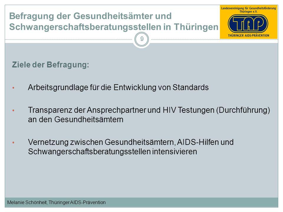 Melanie Schönheit, Thüringer AIDS-Prävention 9 Ziele der Befragung: Arbeitsgrundlage für die Entwicklung von Standards Transparenz der Ansprechpartner