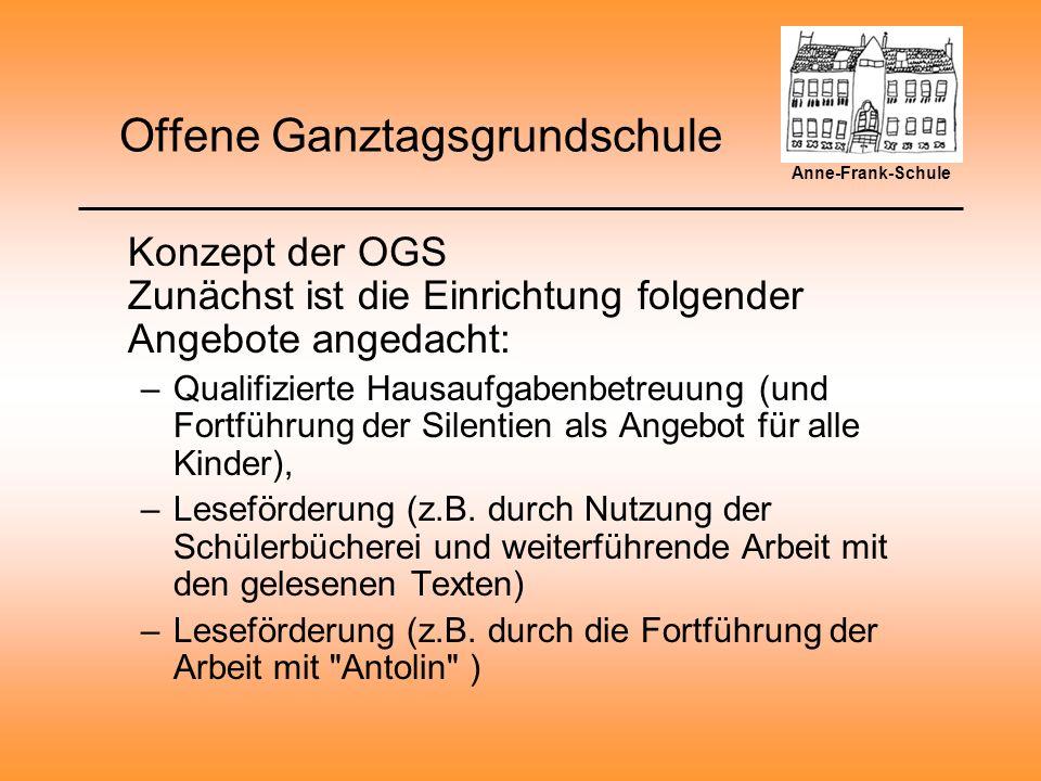 Offene Ganztagsgrundschule Konzept der OGS –Fortführung des Hör-Clubs zur Schulung der Wahrnehmungsfähigkeit und kreativen Ausgestaltung von Texten, Hörspielen,...