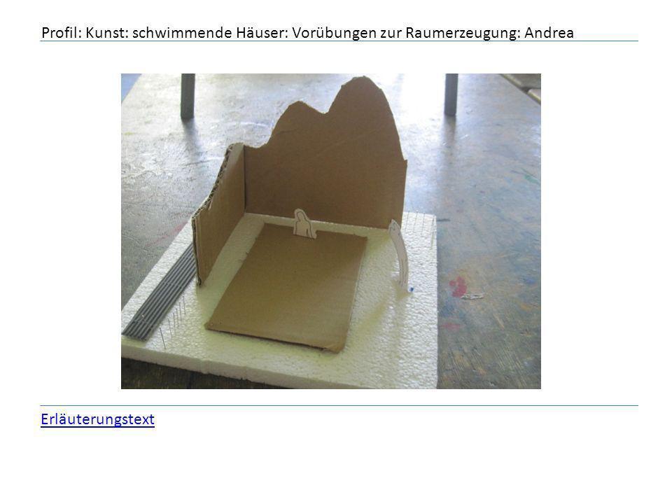 Profil: Kunst: schwimmende Häuser: Vorübungen zur Raumerzeugung: Andrea Erläuterungstext