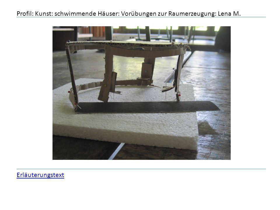 Profil: Kunst: schwimmende Häuser: Vorübungen zur Raumerzeugung: Lena M. Erläuterungstext