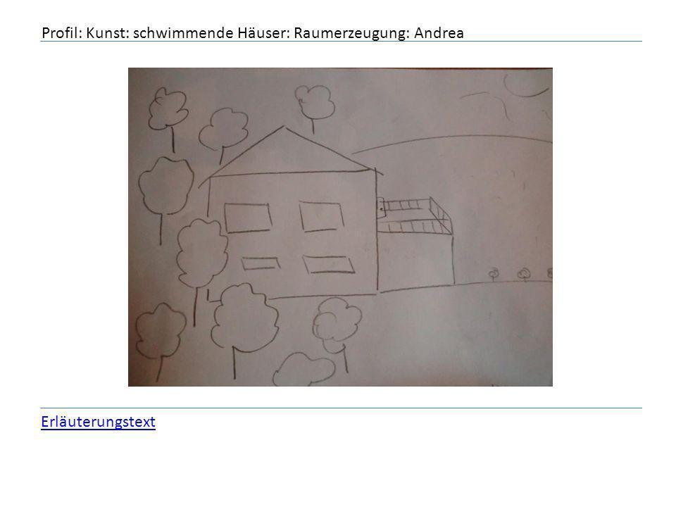 Profil: Kunst: schwimmende Häuser: Raumerzeugung: Andrea Erläuterungstext