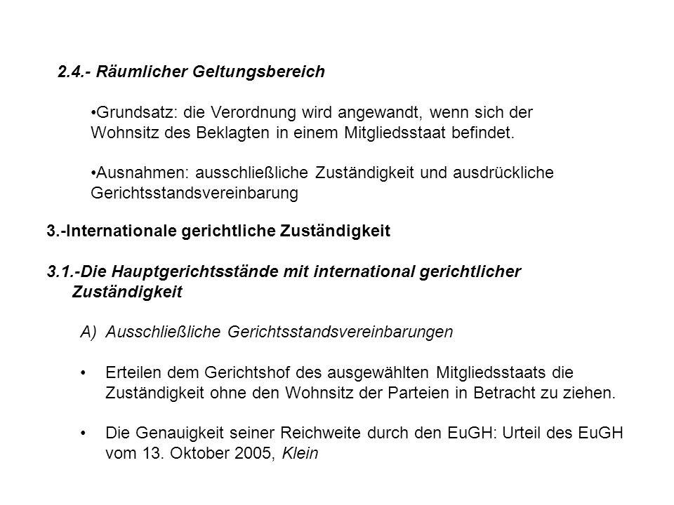 2.4.- Räumlicher Geltungsbereich Grundsatz: die Verordnung wird angewandt, wenn sich der Wohnsitz des Beklagten in einem Mitgliedsstaat befindet.