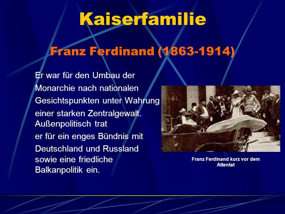 Kaiserfamilie Er war für den Umbau der Monarchie nach nationalen Gesichtspunkten unter Wahrung einer starken Zentralgewalt. Außenpolitisch trat er für