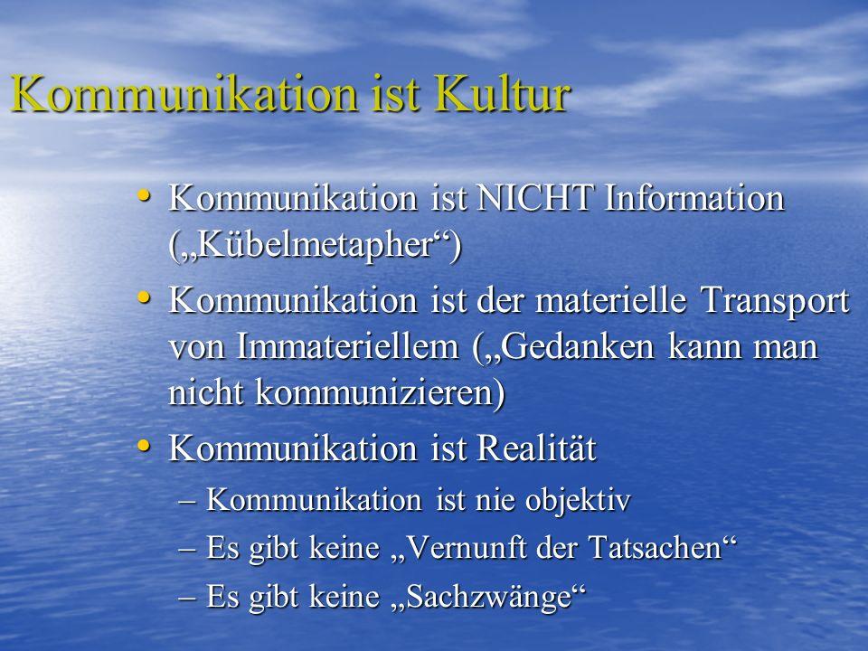 Kommunikation ist Kultur Kommunikation ist NICHT Information (Kübelmetapher) Kommunikation ist NICHT Information (Kübelmetapher) Kommunikation ist der materielle Transport von Immateriellem (Gedanken kann man nicht kommunizieren) Kommunikation ist der materielle Transport von Immateriellem (Gedanken kann man nicht kommunizieren) Kommunikation ist Realität Kommunikation ist Realität –Kommunikation ist nie objektiv –Es gibt keine Vernunft der Tatsachen –Es gibt keine Sachzwänge