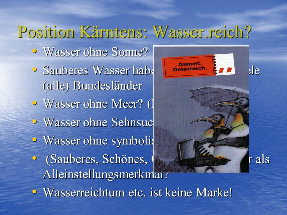 Position Kärntens: Wasser.reich? Wasser ohne Sonne? Wasser ohne Sonne? Sauberes Wasser haben in Österreich viele (alle) Bundesländer Sauberes Wasser h
