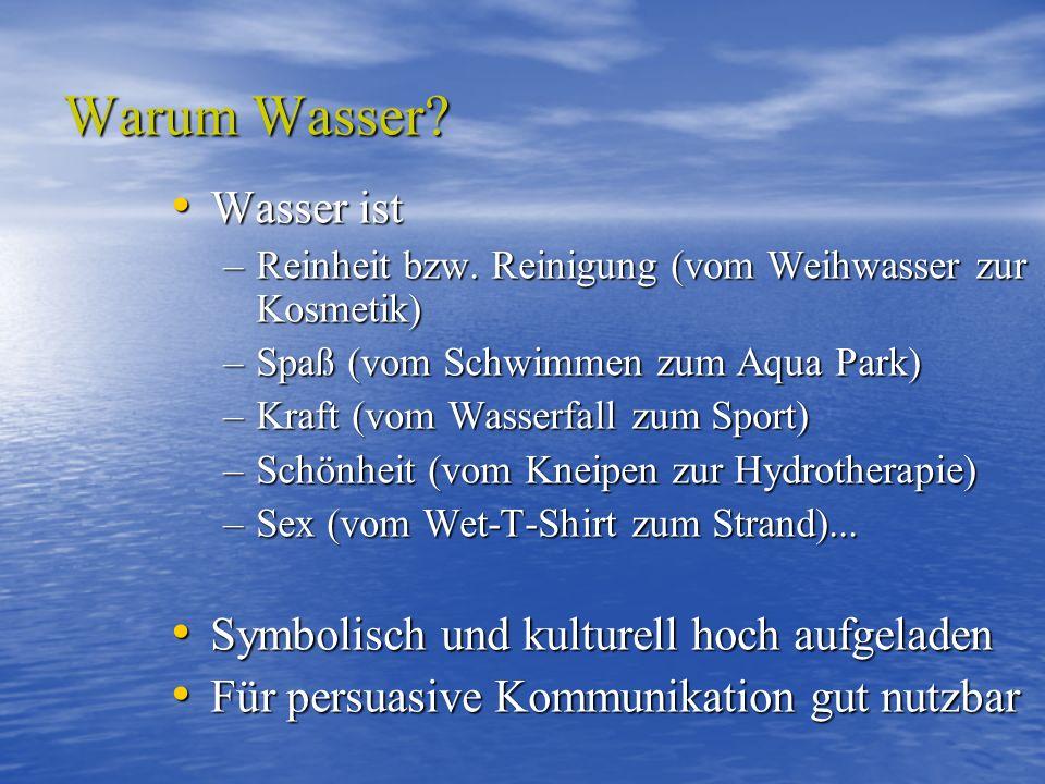 Warum Wasser? Wasser ist Wasser ist –Reinheit bzw. Reinigung (vom Weihwasser zur Kosmetik) –Spaß (vom Schwimmen zum Aqua Park) –Kraft (vom Wasserfall