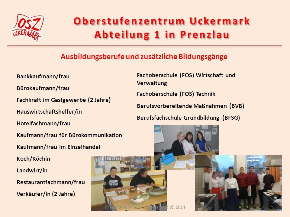 Bildungsmärkte für Kinder Präsentation des OSZ UM am 13.05.2014