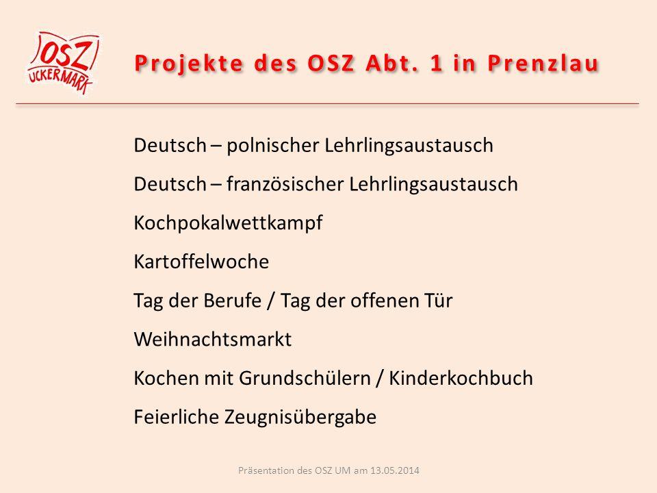 Deutsch – französischer Lehrlingsaustausch I Lehrlinge aus La Roche-sur-Yon zu Gast am OSZ Präsentation des OSZ UM am 13.05.2014