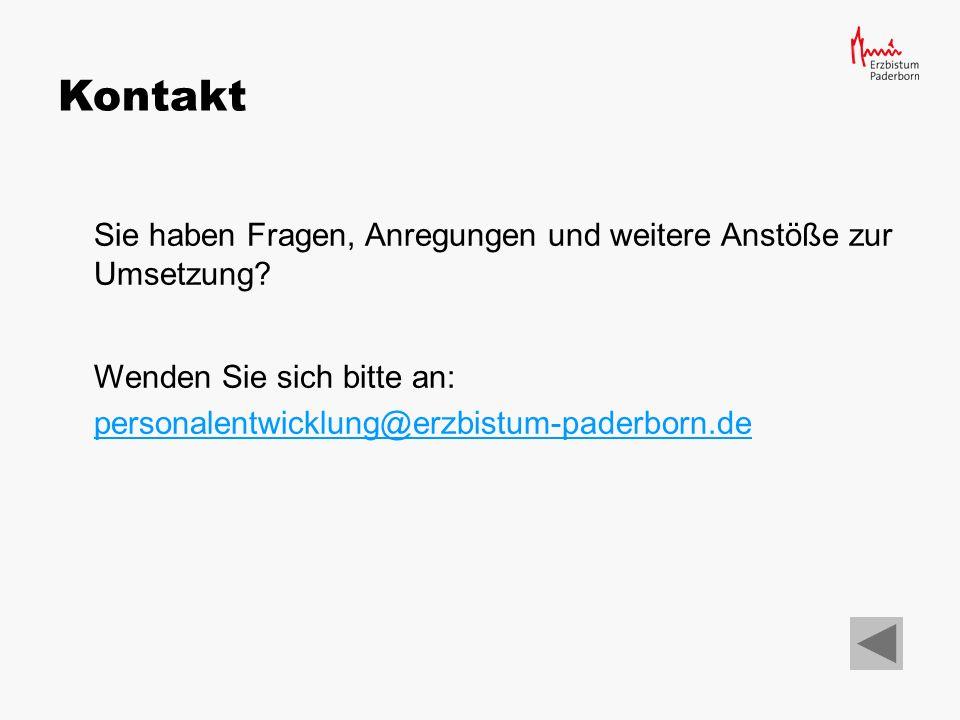 Erzbischöfliches Generalvikariat Paderborn Hauptabteilung Personal und Verwaltung Domplatz 3 33098 Paderborn Tel.: (0 52 51) 12 50 eMail: personalentwicklung@erzbistum-paderborn.depersonalentwicklung@erzbistum-paderborn.de Impressum Fotos privat:Folien 17-19, 22-24, 33-35, 49-50, 57-58, 59-61, 65-67, 73-75 Achim Stockhausen:Folien 13-16 Lizenzfreie Bilder:Folien 20-21, 26-32, 36-48, 51-56, 62-64, 68-72