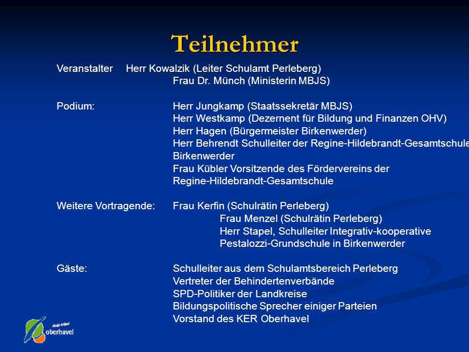 Teilnehmer Veranstalter Herr Kowalzik (Leiter Schulamt Perleberg) Frau Dr. Münch (Ministerin MBJS) Podium: Herr Jungkamp (Staatssekretär MBJS) Herr We