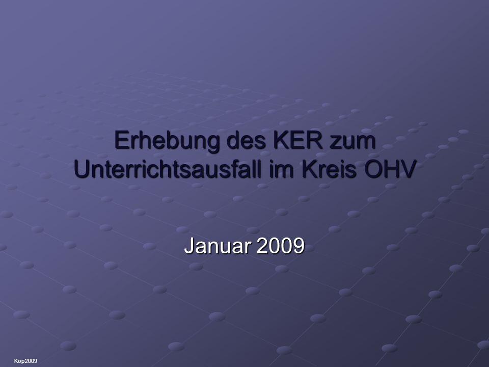 Erhebung des KER zum Unterrichtsausfall im Kreis OHV Januar 2009 Kop2009