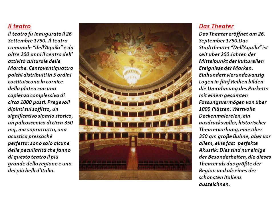 Il teatro Il teatro fu inaugurato il 26 Settembre 1790.