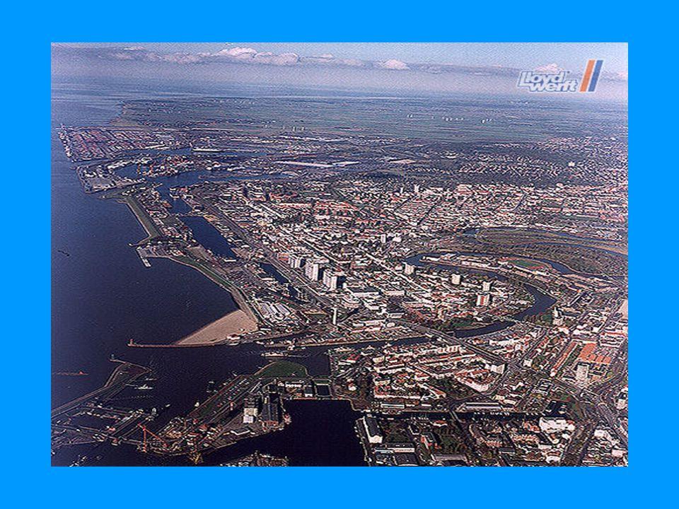 Geografie Die zwei Gemeinden von Bremen und Bremerhaven sind 30 Km voneinander entfernt Die Stadt ist am Zusammenfließen von den Flüssen Geeste und Weser.