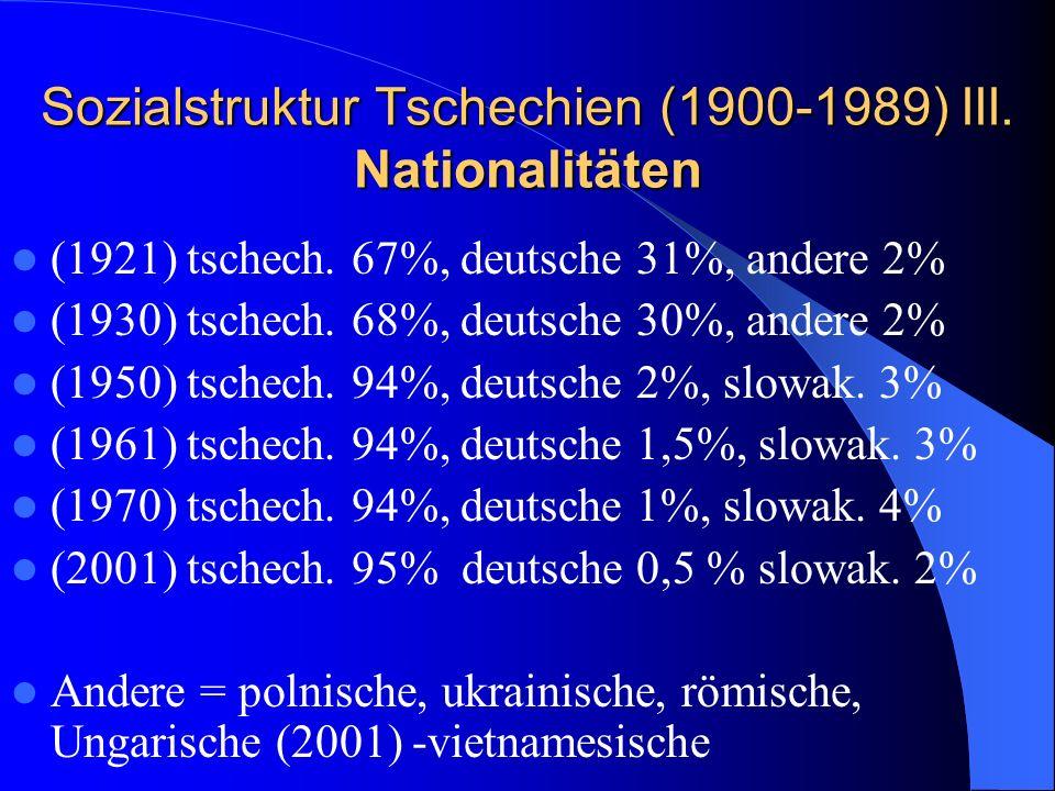 Sozialstruktur Tschechien (1900-1989) III. Nationalitäten (1921) tschech. 67%, deutsche 31%, andere 2% (1930) tschech. 68%, deutsche 30%, andere 2% (1