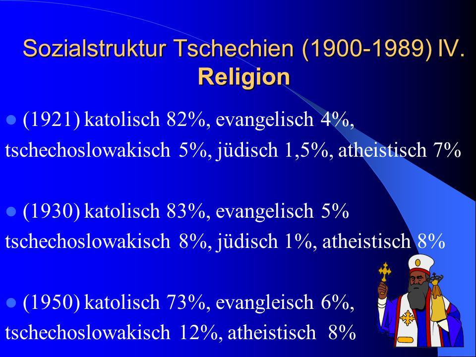 Sozialstruktur Tschechien (1900-1989) IV. Religion (1921) katolisch 82%, evangelisch 4%, tschechoslowakisch 5%, jüdisch 1,5%, atheistisch 7% (1930) ka