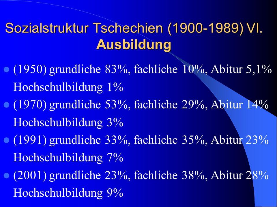 Sozialstruktur Tschechien (1900-1989) VI. Ausbildung (1950) grundliche 83%, fachliche 10%, Abitur 5,1% Hochschulbildung 1% (1970) grundliche 53%, fach
