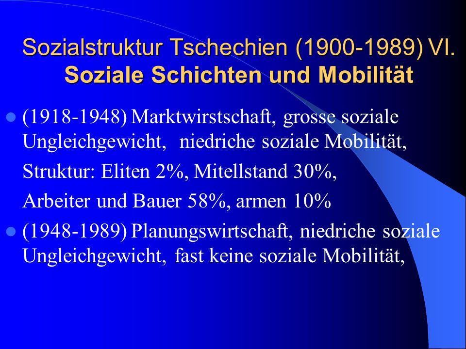 Sozialstruktur Tschechien (1900-1989) VI. Soziale Schichten und Mobilität (1918-1948) Marktwirstschaft, grosse soziale Ungleichgewicht, niedriche sozi