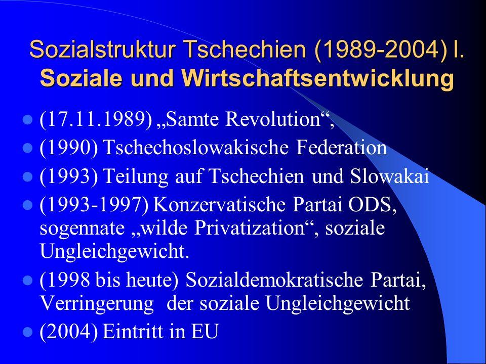 Sozialstruktur Tschechien (1989-2004) I. Soziale und Wirtschaftsentwicklung (17.11.1989) Samte Revolution, (1990) Tschechoslowakische Federation (1993