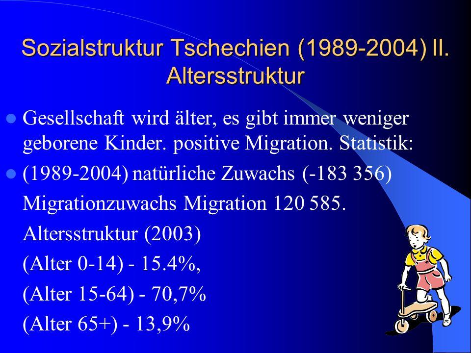Sozialstruktur Tschechien (1989-2004) II. Altersstruktur Gesellschaft wird älter, es gibt immer weniger geborene Kinder. positive Migration. Statistik