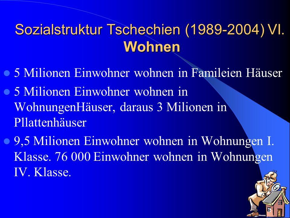 Sozialstruktur Tschechien (1989-2004) VI. Wohnen 5 Milionen Einwohner wohnen in Famileien Häuser 5 Milionen Einwohner wohnen in WohnungenHäuser, darau