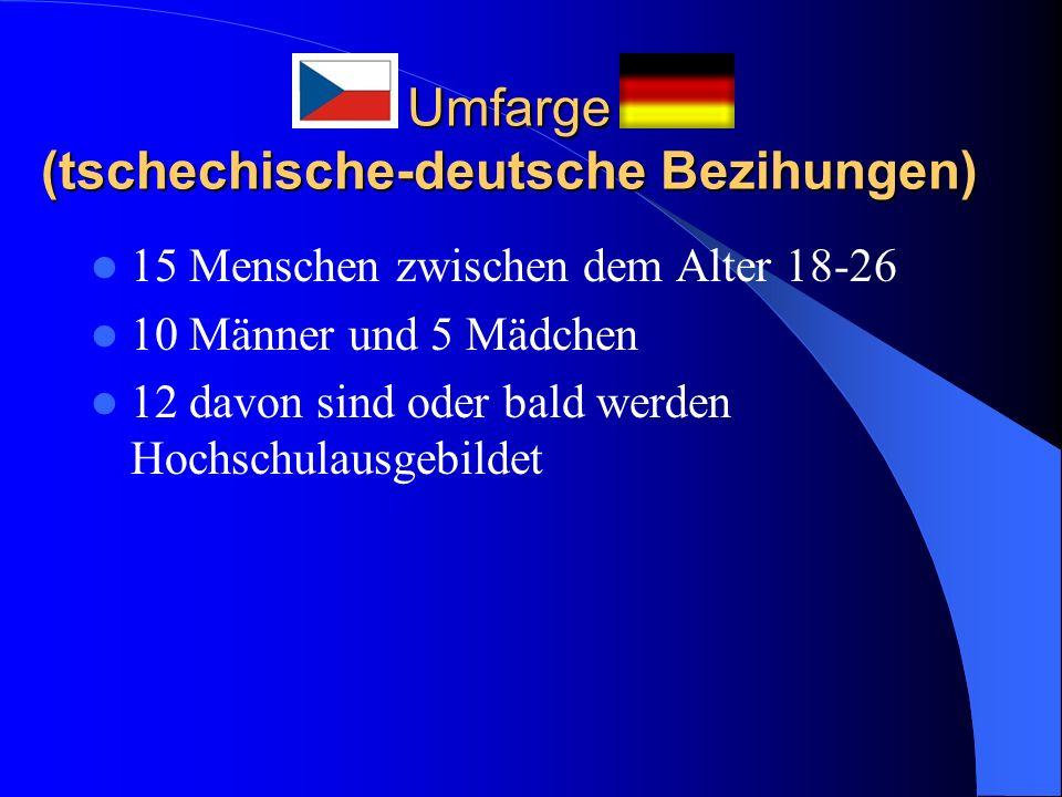 Umfarge (tschechische-deutsche Bezihungen) 15 Menschen zwischen dem Alter 18-26 10 Männer und 5 Mädchen 12 davon sind oder bald werden Hochschulausgebildet