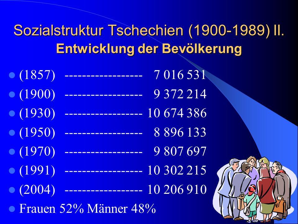 Sozialstruktur Tschechien (1900-1989) II. Entwicklung der Bevölkerung (1857) ------------------ 7 016 531 (1900) ------------------ 9 372 214 (1930) -