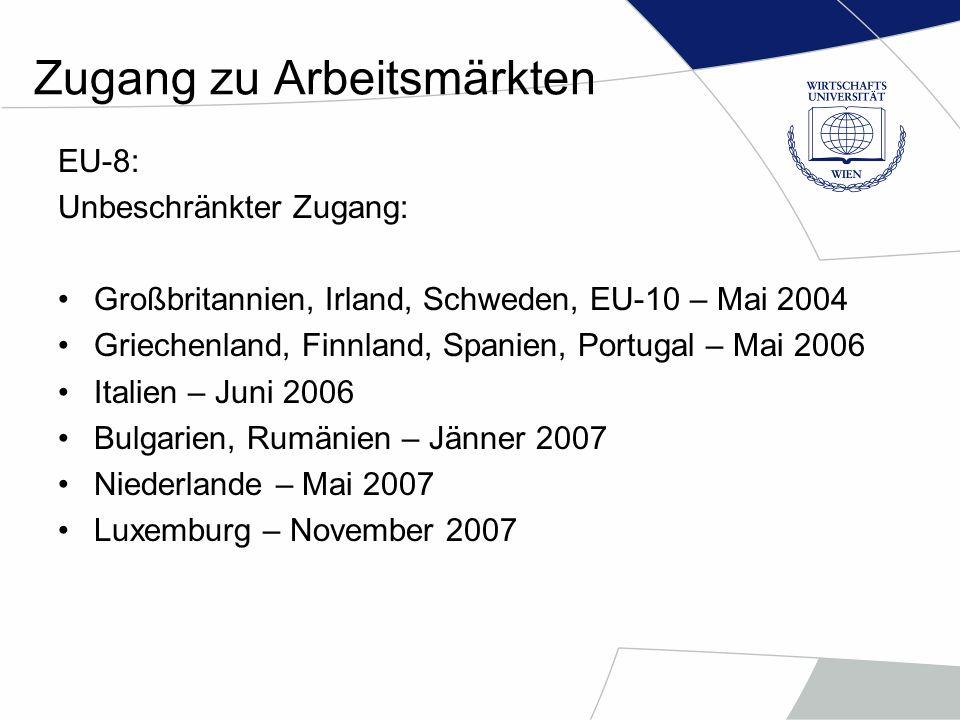 Zugang zu Arbeitsmärkten EU-8 + Bulgarien und Rumänien: Beschränkter Zugang (Übergangsperioden): Belgien (Ärzte, Krankenschwester, Bauwirtschaftarbeiter) Dänemark (Ärzte, Krankenschwester, Landwirtschaftarbeiter) Deutschland (Landwirtschaftarbeiter, Ärzte, qualifizierte Mitarbeiter) Frankreich (Bauwirtschaft, Gastronomie, Tourismus) Österreich (Bauwirtschaft, Gastronomie, Tourismus, Ärzte)