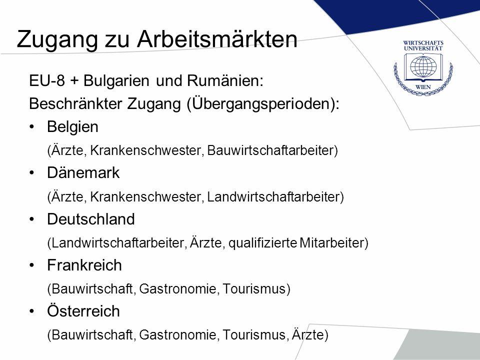 Zugang zu Arbeitsmärkten Bulgarien und Rumänien: Unbeschränkter Zugang: EU-12 + Schweden – Jänner 2007