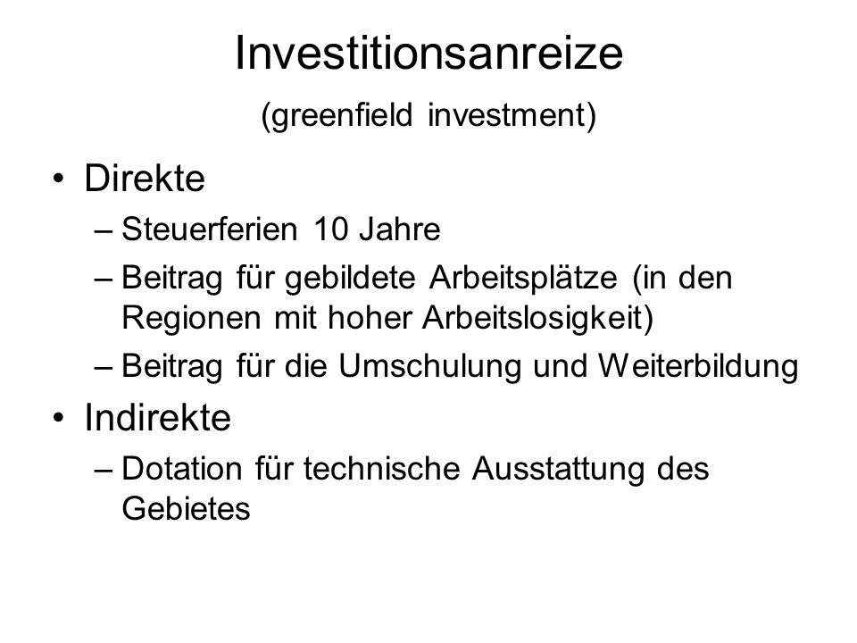 Investitionsanreize (greenfield investment) Direkte –Steuerferien 10 Jahre –Beitrag für gebildete Arbeitsplätze (in den Regionen mit hoher Arbeitslosi