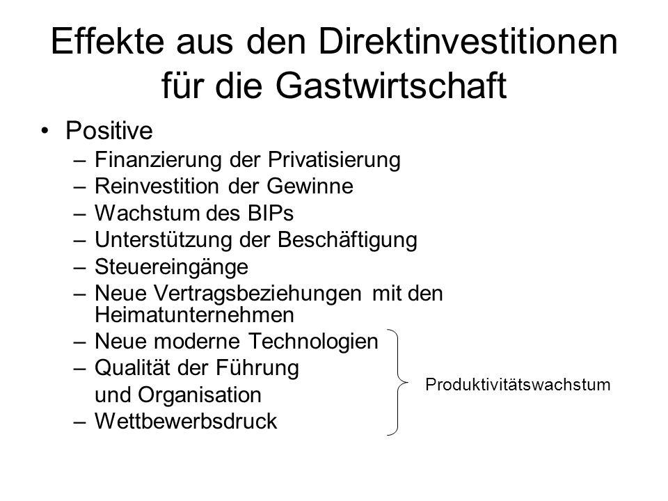 Effekte aus den Direktinvestitionen für die Gastwirtschaft Positive –Finanzierung der Privatisierung –Reinvestition der Gewinne –Wachstum des BIPs –Un