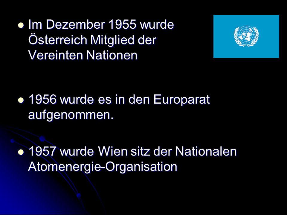1979 wurde Wien zur dritten UNO-Stadt (neben Genf und New York) 1979 wurde Wien zur dritten UNO-Stadt (neben Genf und New York) Seit 1959 war Österreich Mitglied der EFTA (Europäische Freihandelszone) Seit 1959 war Österreich Mitglied der EFTA (Europäische Freihandelszone) Seit 1995 ist es Mitglied der Europäischen Union Seit 1995 ist es Mitglied der Europäischen Union