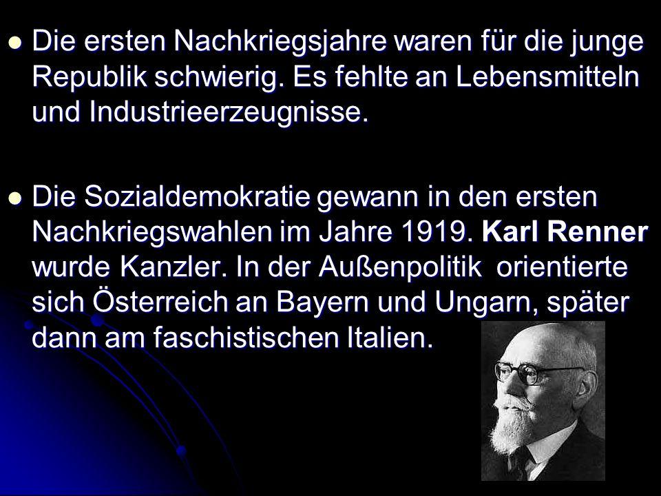 Ende 20er standen zwei Armeen gegenüber: Schutzbund – unterstützt von der Sozialdemokratie Schutzbund – unterstützt von der Sozialdemokratie Heimwehr – die von den faschistischen Parteien gefördert wurde Heimwehr – die von den faschistischen Parteien gefördert wurde Die Nationalsozialisten (die österreichische NSDAP) verlangten den Anschluss an das Dritte Reich.
