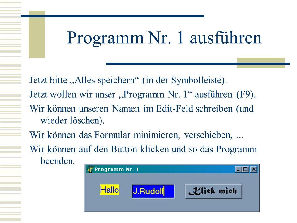 Programm Nr. 1 ausführen Jetzt bitte Alles speichern (in der Symbolleiste). Jetzt wollen wir unser Programm Nr. 1 ausführen (F9). Wir können unseren N