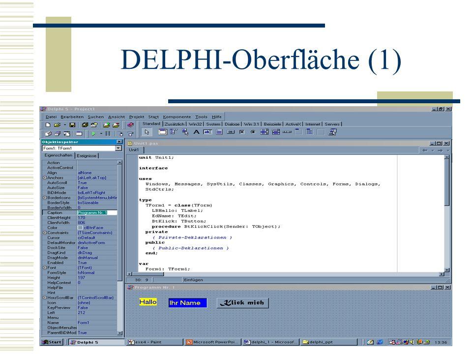 Objektinspektor - Edit Im Selektor wählen wir edit1 mit den z.
