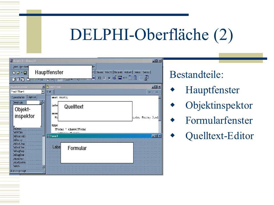 DELPHI-Oberfläche (2) Bestandteile: Hauptfenster Objektinspektor Formularfenster Quelltext-Editor