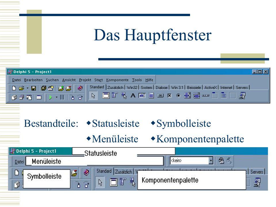 Das Hauptfenster Bestandteile: Statusleiste Menüleiste Symbolleiste Komponentenpalette