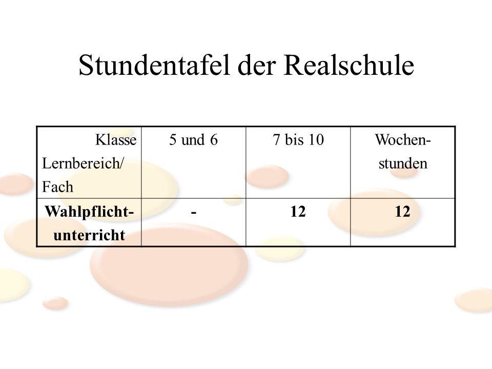 Stundentafel der Realschule Klasse Lernbereich/ Fach 5 und 67 bis 10Wochen- stunden Wahlpflicht- unterricht -12