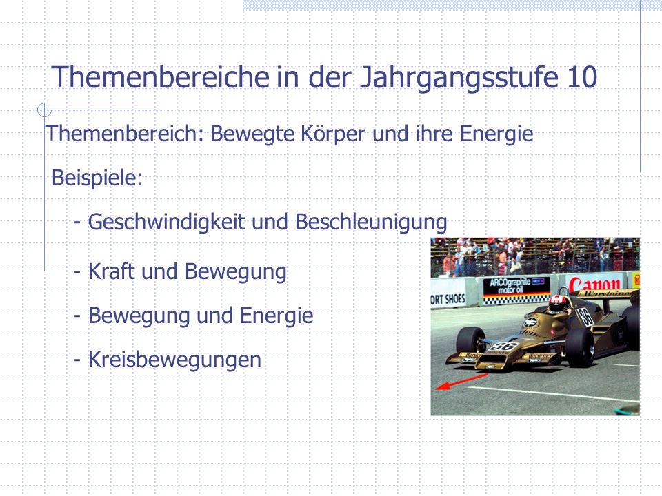 Themenbereiche in der Jahrgangsstufe 10 Themenbereich: Bewegte Körper und ihre Energie Beispiele: - Geschwindigkeit und Beschleunigung - Kraft und Bew