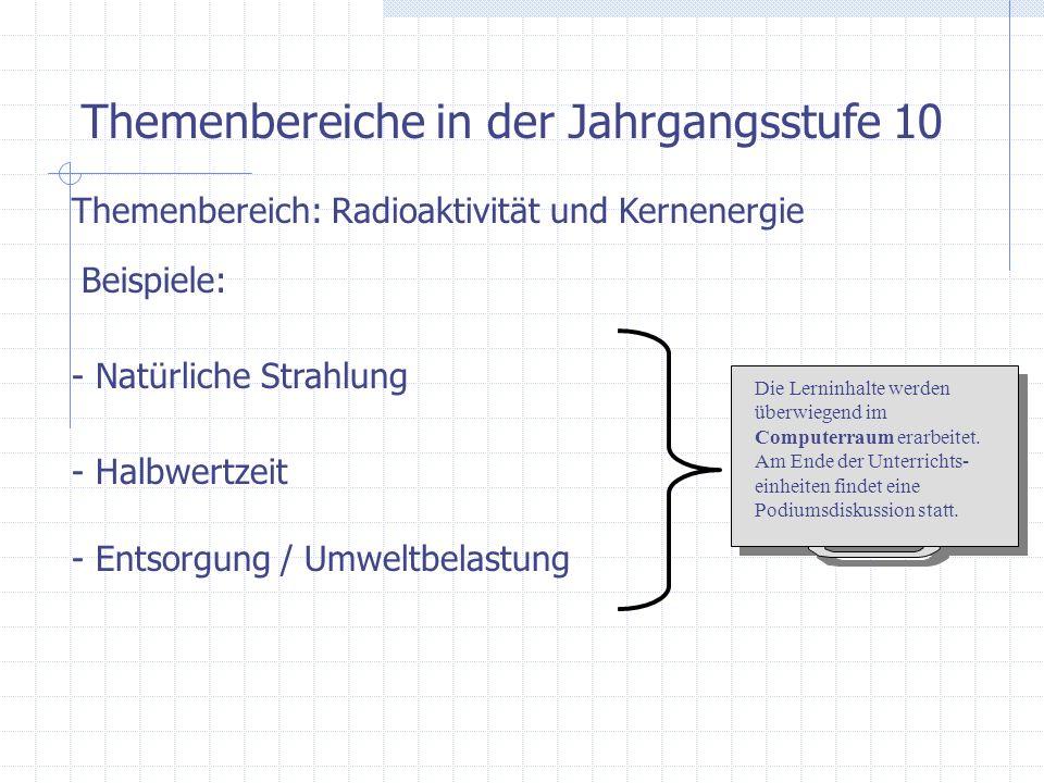 Themenbereiche in der Jahrgangsstufe 10 Themenbereich: Radioaktivität und Kernenergie Beispiele: - Natürliche Strahlung - Halbwertzeit - Entsorgung /