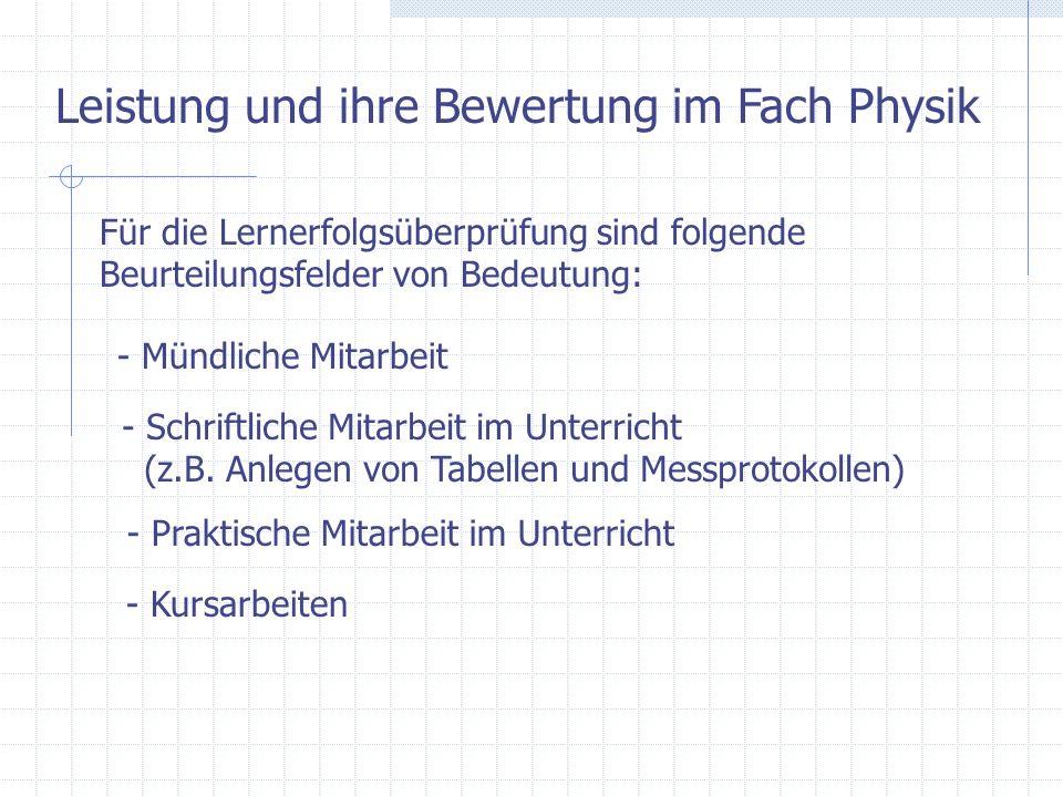Leistung und ihre Bewertung im Fach Physik Für die Lernerfolgsüberprüfung sind folgende Beurteilungsfelder von Bedeutung: - Mündliche Mitarbeit - Schr