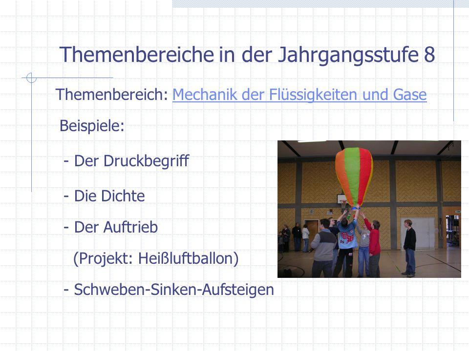 Themenbereiche in der Jahrgangsstufe 8 Themenbereich: Messen im Stromkreis / Energie u.