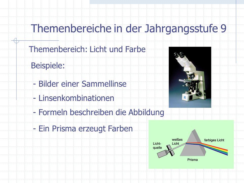 Themenbereiche in der Jahrgangsstufe 9 Themenbereich: Wärme ist Energie Beispiele: - Körper und innere Energie (Teilchenmodell) - Schmelzen und Erstarren - Zustandsänderungen bei unterschiedlichem Druck - Verbrennungsmotoren