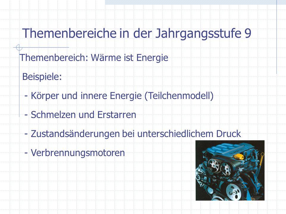 Themenbereiche in der Jahrgangsstufe 9 Themenbereich: Wärme ist Energie Beispiele: - Körper und innere Energie (Teilchenmodell) - Schmelzen und Erstar