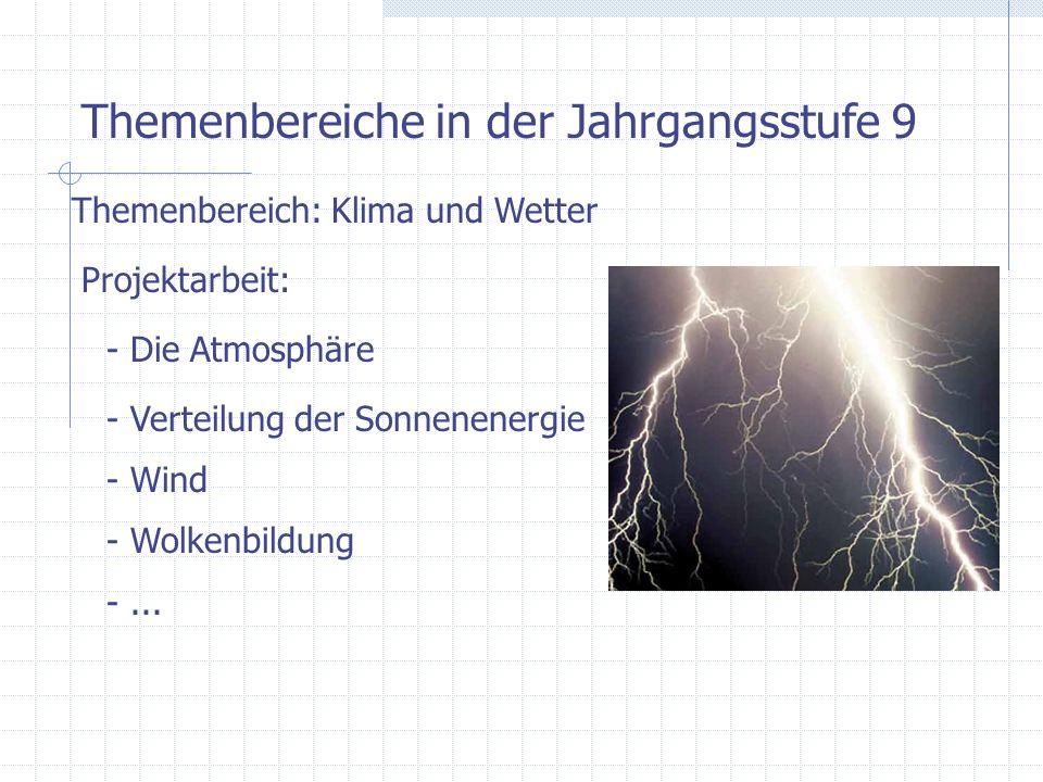 Themenbereiche in der Jahrgangsstufe 10 Themenbereich: Elektrische Energie / Versorgung Beispiele: - Kraftwerke sind Energiewandler - Umwandlung elektr.