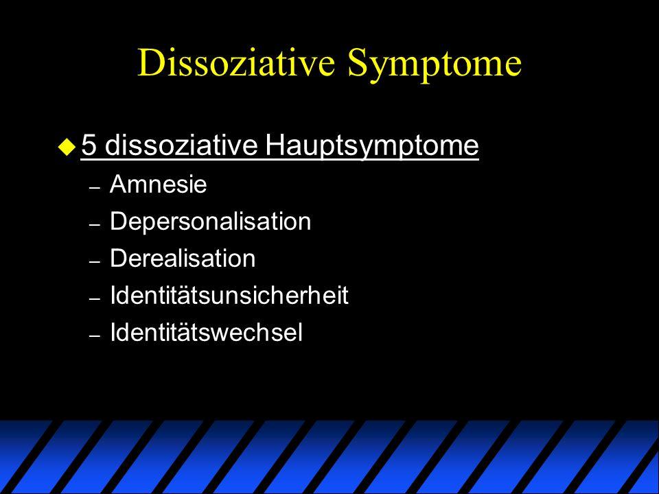 Dissoziative Symptome u 5 dissoziative Hauptsymptome – Amnesie – Depersonalisation – Derealisation – Identitätsunsicherheit – Identitätswechsel